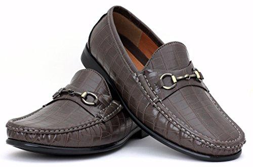 Hommes Décontracté Designer Mocassins À Enfiler Chaussures Mode Élégant Conduite Moccasin Taille Gris