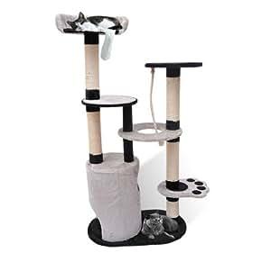 Homcom Arbre à chat en bois de sisal avec griffoir Multi-niveaux Hauteur 140cm