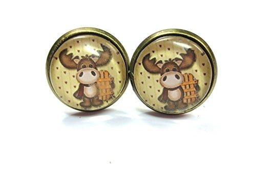 Weihnachtselch Motiv Cabochon Ohrstecker lustige Ohrringe 12mm bronze-farben rodeln rentier schnee -