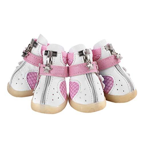 Kuncg Paw Protector Perro Mascota Botas Malla Respirable Antideslizante Accesorios De Flores Protectoras Precioso Zapatos De Cachorro Blanco Rosa 4