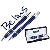 BELIUS BB156 - Juego De Boligrafo Y Portaminas Belius Kassel Azul Con Detalles Plateados En Estuche