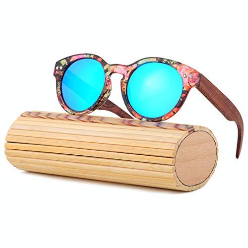 DAIYSNAFDN Bambus Sonnenbrille Frauen Handgefertigte Holz Sonnenbrille Polarisierte Vintage Sonnenbrille Runde Rahmen C11 with Case