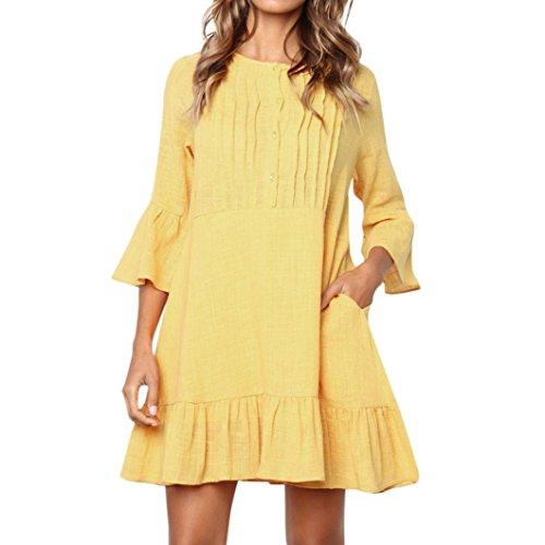 Faldas Largas Mujer Verano Botones, Zolimx Mujer Botón O-Cuello Bohemio Tres Trimestre Informal Mini Ropa de Playa Vestido de Gala Enaguas para Vestidos Cortos (Medium, Amarillo)