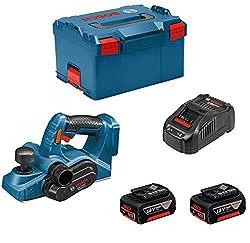 Bosch Professional 06015A0304 Professional GHO 18 V-LI Hobel, 2 x 5,0 Ah Akku, Schnellladeger\x{00E4}t, L-BOXX, Schwarz, Blau, Rot