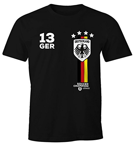 Herren T-Shirt Fanshirt Deutschland Trikot EM WM Fußball Germany Fan Shirt MoonWorks® schwarz L (T-shirt Em Schwarzes)