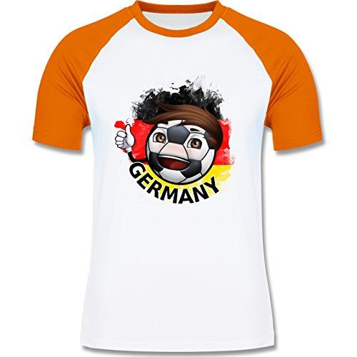 EM 2016 - Frankreich - Fußballjunge Deutschland - zweifarbiges Baseballshirt für Männer Weiß/Orange