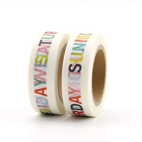 stücke Woche Muster Papierband DIY Klebrige Dekoration Sammelalbum Plan Masking Tape Label Aufkleber Nette Band 1,5 cm * 10 mt ()