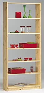 Steens Axel Pine Bookcase with 5-Shelves, Natural Lacquer Finish