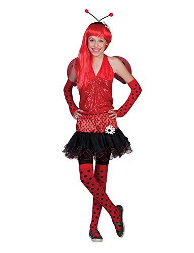 Tutu Marienkäfer Kostüm Mit - Halloweenia - Mädchen Teenager Kostüm Marienkäfer Maikäfer mit Tütü Rock Flügel und Kopfschmuck, Ladybug Tutu Skirt Wings and Headband, perfekt für Karneval, Fasching und Fastnacht, 152-, Rot