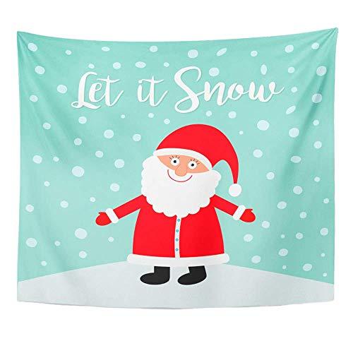 Wandteppich Polyester Stoff Drucken Home Decor Lassen Sie es Schnee Weihnachtsmann tragen Red Hat Kostüm Big Bear Cute Cartoon Kawaii Wandbehang Tapisserie für Wohnzimmer Schlafzimmer Schlafsaal (Cute Bear Kostüm)