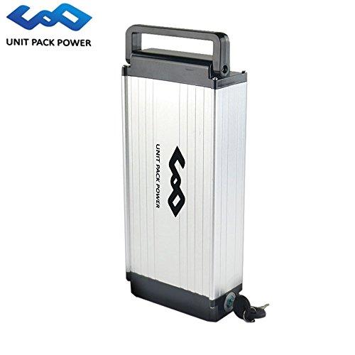 uppcycle Batteria al Litio E-Bike, Batteria Rack 48V 14AH + Caricabatterie da 2A + Safe Lock, Compatibile con Motore da 1000W (Sliver, 48V 14AH)
