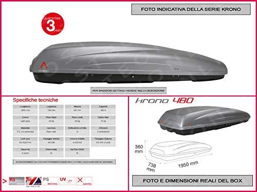 Proposteonline portabagagli Box Tetto Auto 195 x 73 x 36 cm per Smart forfour 2014 > con Barre Portapacchi portatutto ji76id