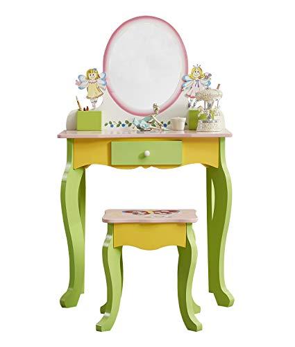 WODENY Kinder-Waschtischgarnitur | Schminktisch Kinder Kommode und Stuhl & Hocker Beauty-Sets Mode Make-up-Zubehör Spiegel mit Schublade aus Holz für Mädchen Rosa