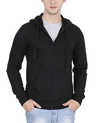 FLEXIMAA Men's Cotton Hoodie (Black, Small)