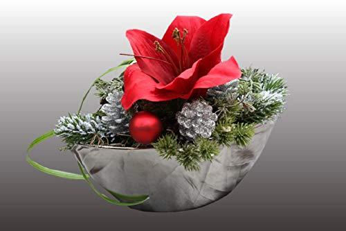 Adventsgesteck Nr.39 silbernes Schiffchen mit roter Amarillis und Winterdeko Weihnachtsgesteck, Wintergesteck, Advent Adventskranz