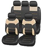 upgrade4cars Auto-Sitzbezüge Leder-Optik Beige | Universal Auto-Schonbezüge Set für Sommer & Winter | Kunstleder Pkw Sitzbezug Komplettset für die Vordersitze & Rückbank (B3 Schwarz)