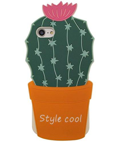 iPhone 7 Plus Hülle, BENKER Hochwertig Schlagfeste und Kratzfeste (Mexikanischer Stil) Weich Silikon Kreativ 3D Cartoon Telefon Fall - Kaktus 2 Kaktus 2