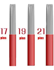 Microblading Nadeln 50 Stücke Assorted Permanent Makeup Manuelle Augenbraue Tattoo Nadel 17 19 21 Runde Red Blades