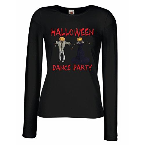 Weibliche Langen Ärmeln T-Shirt Coole Outfits Halloween Tanz Party Veranstaltungen Kostümideen (Large Schwarz Mehrfarben)