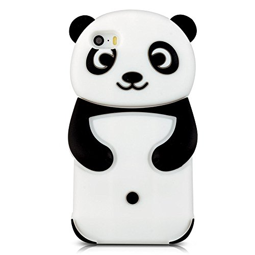 Hcheg Case Cover 3D en silicone pour iPhone 6/6S Panda Design noir / Blanc Case Cover + 1X Nano-proof film de protection écran panda-black