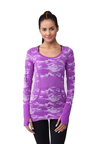 Tofern Femme T-shirt à Manches Longues Yoga Camouflage Sweat-shirt Seconde Peau Multifonction Confort Mesh Respirant Danse Jogging Violet