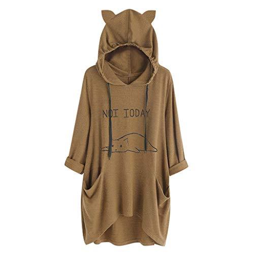 VEMOW Damenmode Tasche Lose Kleid Damen Rundhalsausschnitt beiläufige Tägliche Lange Tops Kleid Plus Größe(Y3-a-a-Kaffee, 46 DE/L CN)