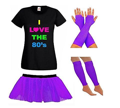 LADIES NEON 80S TSHIRT FANCY DRESS WITH TUTU SKIRT LEG WARMERS & FISHNET GLOVES - PARTY RAVE SUMMER FESTIVAL (8, Purple)