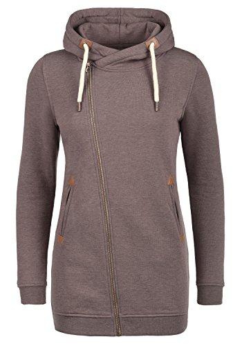 DESIRES Vicky Zip Hood Long Damen Lange Sweatjacke Kapuzenjacke Sweatshirtjacke mit Kapuze und Fleece-Innenseite, Größe:XXL, Farbe:Sparrow M (5710M) (Baumwolle-fleece-mantel)