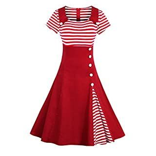 2017 Damen 50er Jahre Retro Kleid Swing Cocktailkleid Partykleid Pin up gestreift Lang, Rot 2, Gr. L