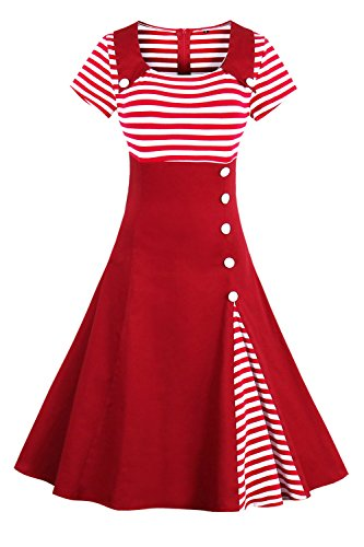 2017 Damen 50er Jahre Retro Kleid Swing Cocktailkleid Partykleid Pin up gestreift Lang, Rot 2, Gr. S