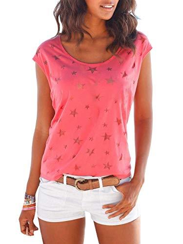 Uniquestyle Damen Sommer T-Shirt Kurzarmshirt mit Sternen Druck Rundhals Lässige Stretch Bluse Tops Oberteil Shirts Rot XL - Print T-shirt Top Hat