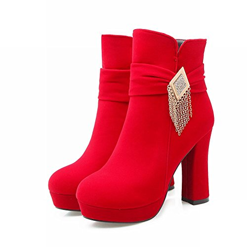Mee Shoes Damen chunky heels high heels faux Suede Plateau Stiefel Rot