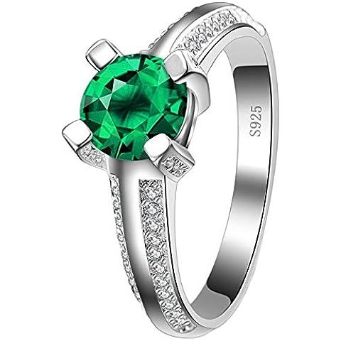 So Chic Gioielli - Anello di Fidanzamento Jade - Solitario Rotondo - Zirconia Cubica Verde Bianco & Argento Sterling 925