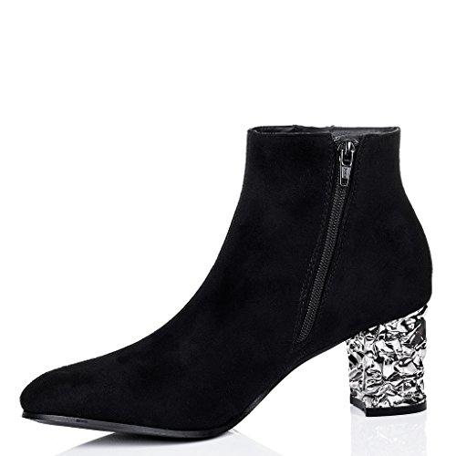 SPYLOVEBUY MILLY Femmes à Talon Bloc Bottines Chaussures Noir - Simili Daim