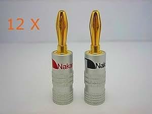 Nakamichi - 12 x HIGH END Bananenstecker Bananas 24K vergoldet für Kabel bis 6mm² in Rot Schwarz