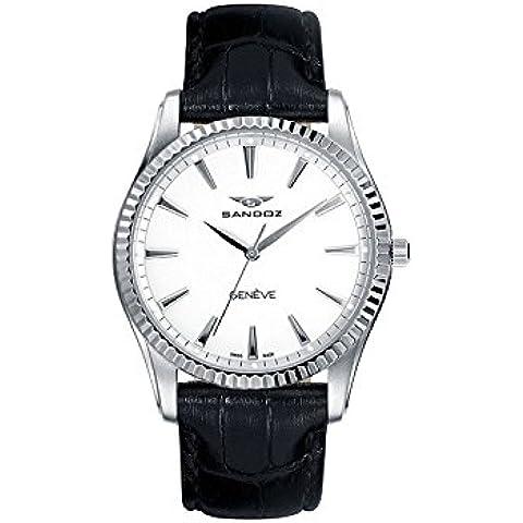 Sandoz Classic 81308–00Uhr Damen-, aus Edelstahl, mit Leder-Armband Schwarz, mit Schweizer Saphirglas und