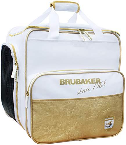 Brubaker Super St. Moritz Skischuhtasche Helmtasche Rucksack-Tragesystem mit Schuhfach - Weiß Gold