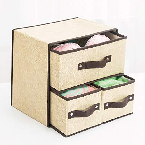YXLZZO Fabric Folding Aufbewahrungsbox Schublade Unterwäsche Aufbewahrungsbox Kleidung Staubdicht Aufbewahrungsbox (Color : Beige)