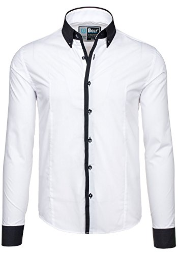 BOLF – Chemise casual – avec manches longues – BOLF 5798 – Homme Blanc