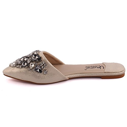 Unze Le nuove donne Ladies 'Roaser' Crystal Diamante Ornata peep-toe tacco basso da sera, da sposa, scarpe Prom & Party Pump Flats Dimensioni 3-8 Oro