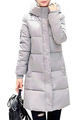 OMZIN Femmes Doudoune Veste en Coton Manteau à capuche Parka Fermetures Hiver Chaud Gris M