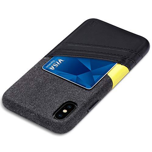 ULAK Wallet Case für iPhone XS 5.8 Zoll 2018, iPhone X 2017, Minimal Card Case mit Premium Kunstleder Slim Fit Professionelle Executive Schutzhülle mit 2 Kartenfächern, Black+Yellow Iphone Executive Leather Case