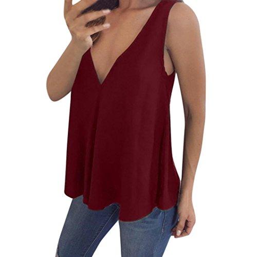 JURTEE Damen Sommer Chiffon Plus Size V-Ausschnitt Tank Tops Cami Ärmelloses T-Shirt Weste Bluse(Rot,3XL (Jordan-chiffon-rock)