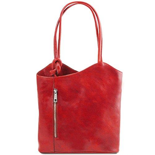 Tuscany Leather Patty Borsa donna in pelle convertibile a zaino Testa di Moro Rosso
