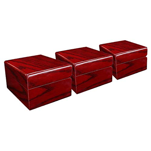 Baoblaze 3 Stück Rot Lackierte Single Slot Holz Uhrengehäuse Armbanduhr Aufbewahrungsbox -