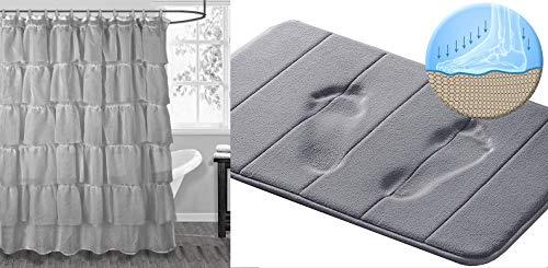 3 Peaks Gypsy Duschvorhang-Set mit grauem Memory-Schaumstoff-Badematte, Grau - Grau Duschvorhang Mit Rüschen