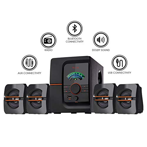 I Kall IK-401 60W Bluetooth Home Theatre System with FM/AUX/USB Support and Remote Control with 1 Year Manufacture Warranty (Black) (Black, 4.1 Channel)
