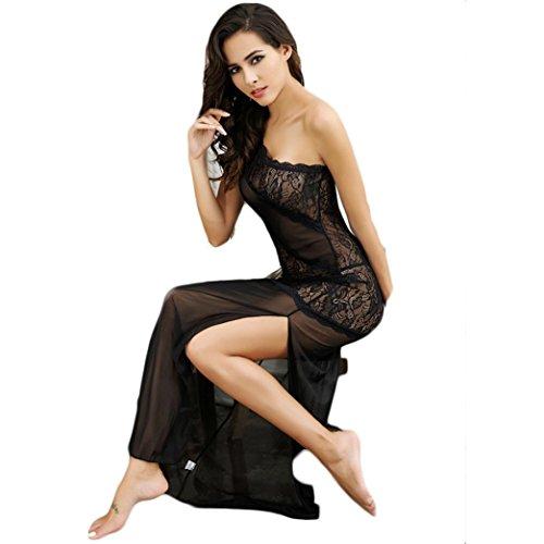 Indumenti da notte sexy femminile tentazione trasparente delle donne del merletto di estate della camicia da notte della biancheria intima,Fami
