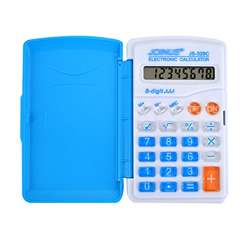 LAHAUTE 1 PCS Mini-8-stellige Farbig Tragbaren Rechner Standard-Taschenrechner Mini-Taschenrechner Tischrechner Bürorechner Rechenmaschine Mit Deckel Blau
