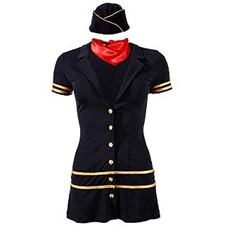 Cotelli Collection Costumes Stewardess - elegantes Minikleid für Damen, figurbetontes Kleid mit Kappe und Tuch zur Verführung des Partners, blau/gold, XS